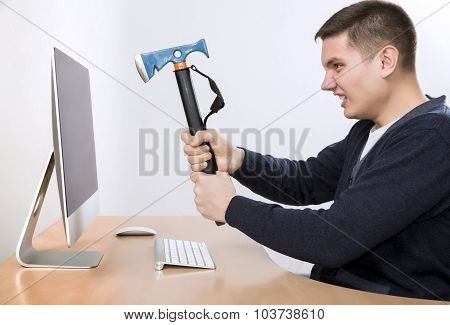 I hate this job Crazy man is going to destroy his computer