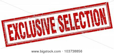 Exclusive Selection Red Square Grunge Stamp On White