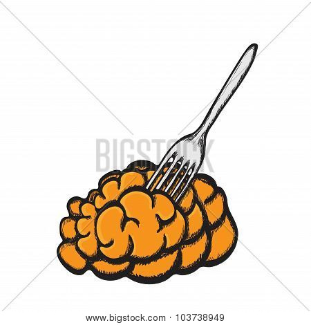 Brain Food Pierced On Fork. Delicacy For Zombies