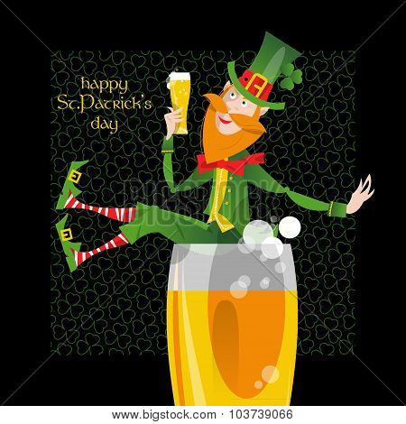 Leprechaun With A Beer. St. Patrick's Day. Greeting Card.