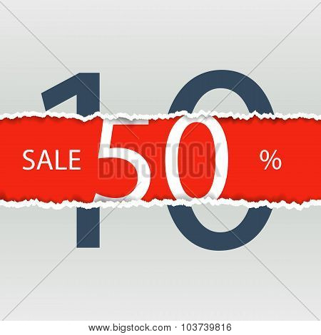 Sale poster with percent discount. Torn paper.