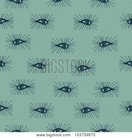 Seamless Pattern Eyes Hand Drawn