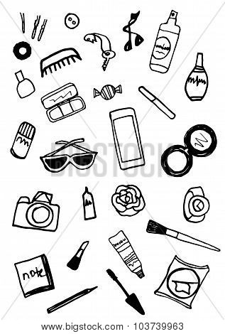 Whats In The Bag Hand Drawn Black And White Collection Of Make Up And Accessories Illustration
