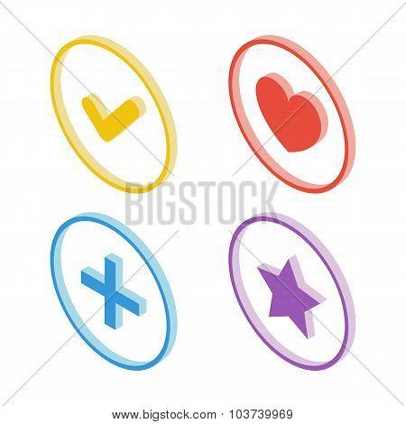 Isometric tick icon. Isometric heart icon. Isometric star icon. Isometric plus sign icon.