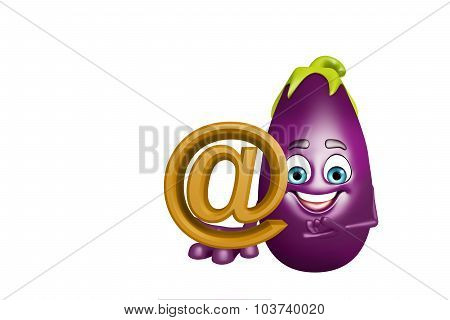 Cartoon Character Of  Brinjal Fruit With At The Rate Sign