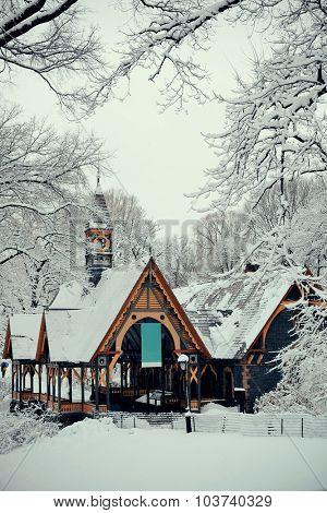 Central Park winter in midtown Manhattan New York City