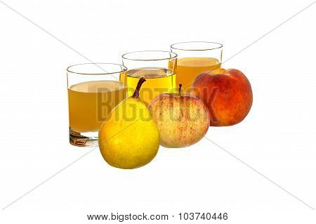 Pear, apple and peach in the background glasses with juice.