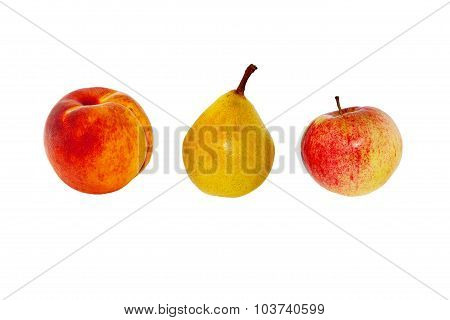 Peach, pear and apple close-up on a white background