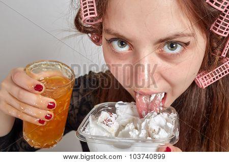 Fun Woman Eats