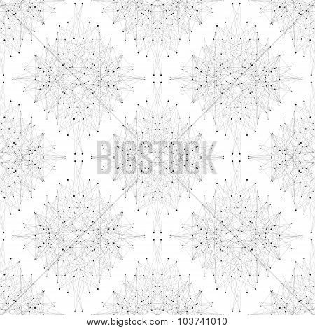 Seamless graphic texture molecule and communication. Connected lines with dots. Vector illustration