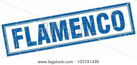 Flamenco Blue Square Grunge Stamp On White