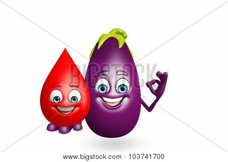 Cartoon Character Of  Brinjal Fruit With Blood Drop
