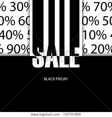Sale poster. Black friday. Vector illustration.