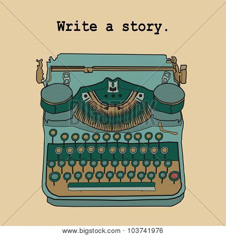 Vector Illustrations Of Retro Typewriter