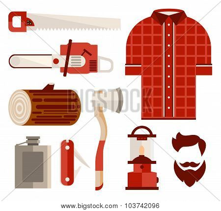 Wood and Tools of Lumberjack in Flat Style. Vector Illustration Set