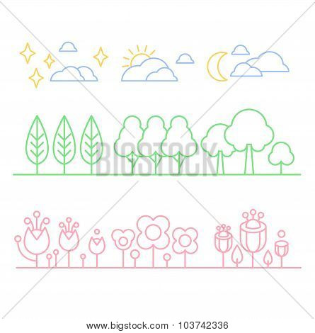Handdrawn Trees and Flowers in Linear Style