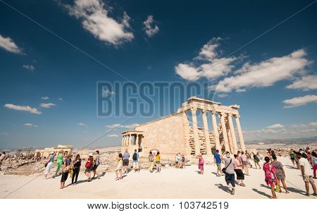 Tourists At The Acropolis Hill Athens Greece