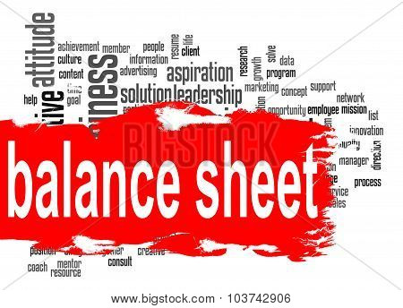 Balance Sheet Word Cloud With Red Banner