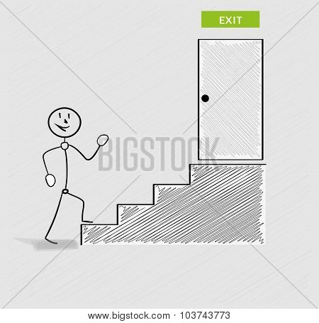 Man And Stairs To Exit