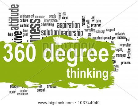 360 Degree Thinking Word Cloud With Green Banner