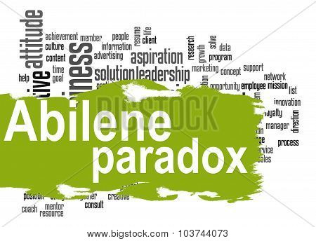 Abilene Paradox Word Cloud With Green Banner