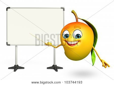Cartoon Character Of Mango With Display Board
