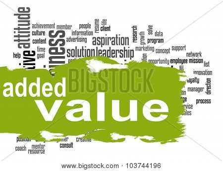 Added Value Word Cloud With Green Banner