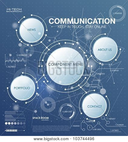 Communication technology with integrated circles with Blank space for your design. Vector illustration global social media concept. abstract technology communication concept