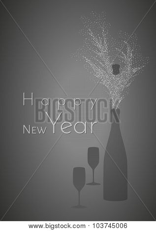 Happy New Year And Glasses With Bottle
