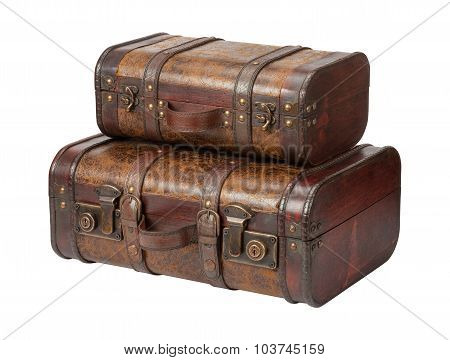 Two Antique Leather Suitcases Stacked