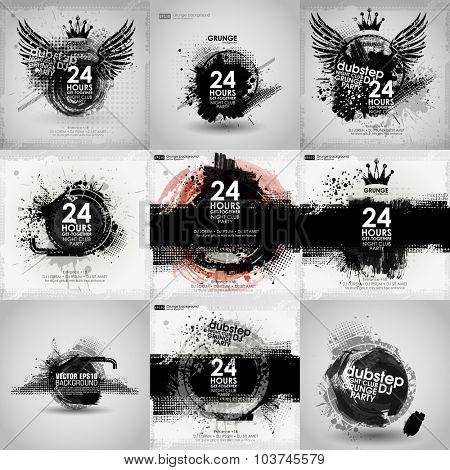 Set poster Grunge background vector. Grunge print for t-shirt. Abstract dirt backgrounds texture. Grunge banner with an inky dribble strip with copy space. Abstract background for party