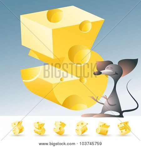 3D vector yellow cheese alphabet with funny mouse. All symbols in set have 6 random points of view. Number 3