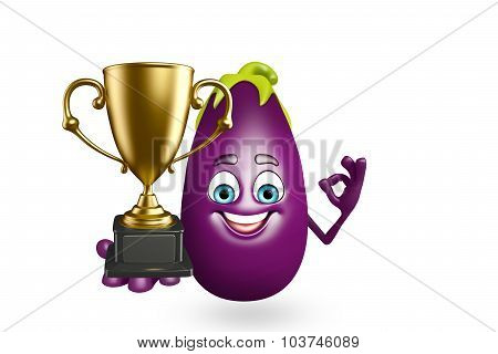 Cartoon Character Of  Brinjal Fruit With Trophy