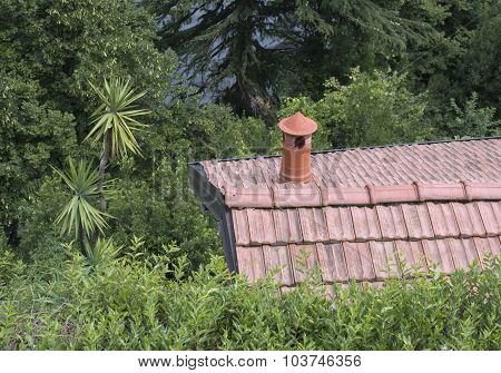 the rooftop of a house