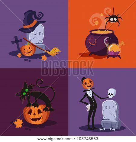 Cauldron, Pumpkin, Tomb and Cat Halloween Illustration Set