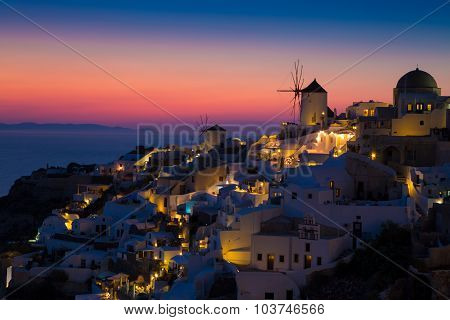 Lights of Oia village at night.