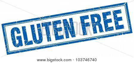 Gluten Free Blue Square Grunge Stamp On White