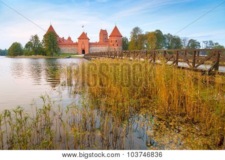 Old castle in sunrise time. Trakai, Lithuania.