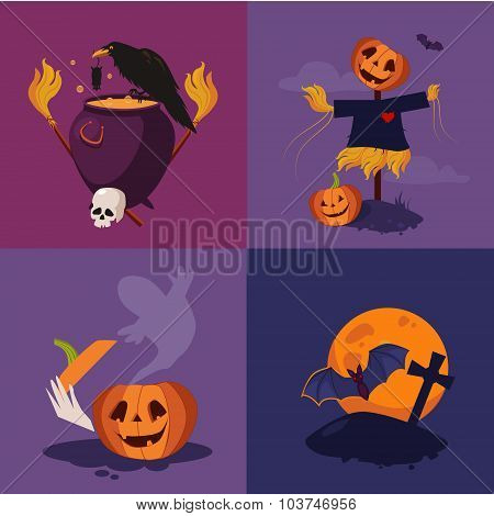 Halloween Pumpkin, Cauldron and Scarecrow Vector Illustration Set