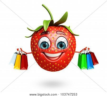 Cartoon Character Of Strawberry  With Shopptng Bag