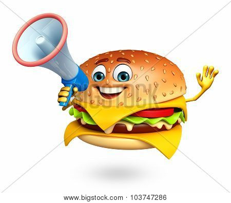 Cartoon Character Of  Burger  With Loudspeaker