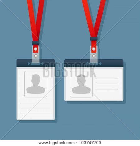 Horizontal and vertical badges with red lanyards.
