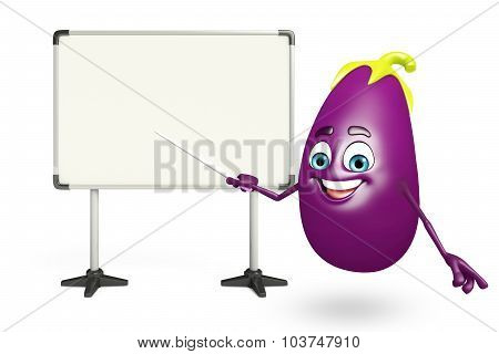 Cartoon Character Of  Brinjal Fruit With Display Board