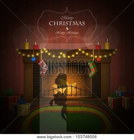 Christmas decorated fireplace vector illustration.