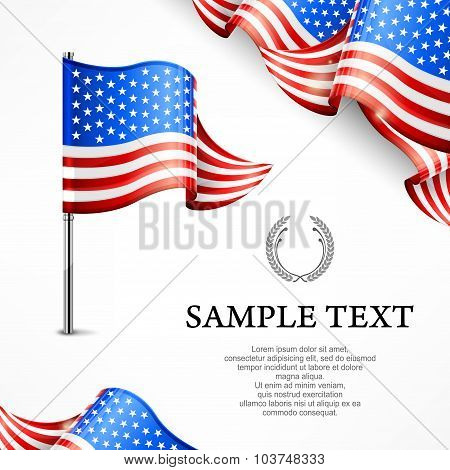 American Flag & Banners With Text