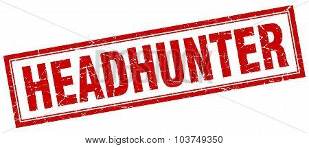 Headhunter Red Square Grunge Stamp On White