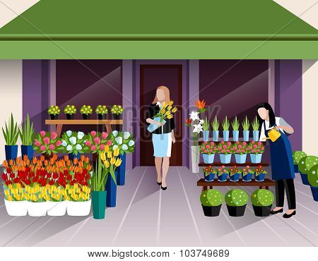 Flower shop entrance banner