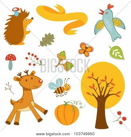 Cute forest animals colorful collection