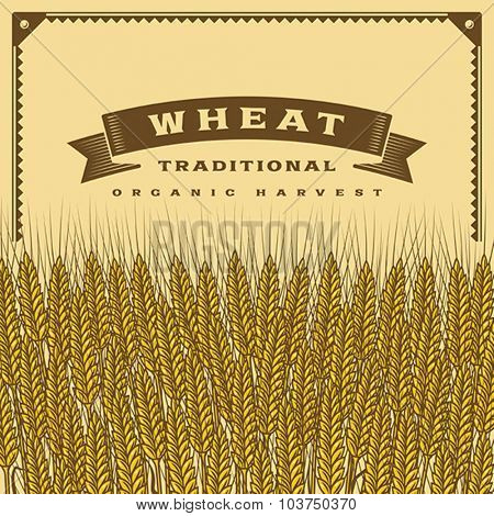 Retro wheat harvest card. Editable vector illustration with clipping mask.