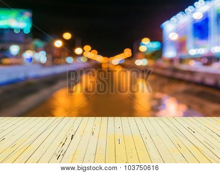Image Of Blur Street And Canel  Bokeh Background With Warm Colorful Lights